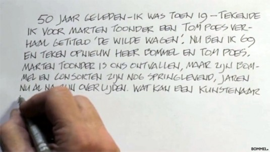 Dick Matena tekent glossy Bommel.